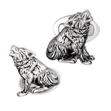 Sterling Silver Howling Wolf Cufflinks by Jan Leslie