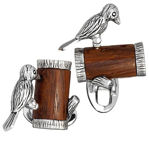 Moving Woodpecker Cufflinks by Jan Leslie