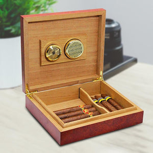 Cigar Humidor with Moisture Meter Device - 20 Count Box - It's Bro Hemp