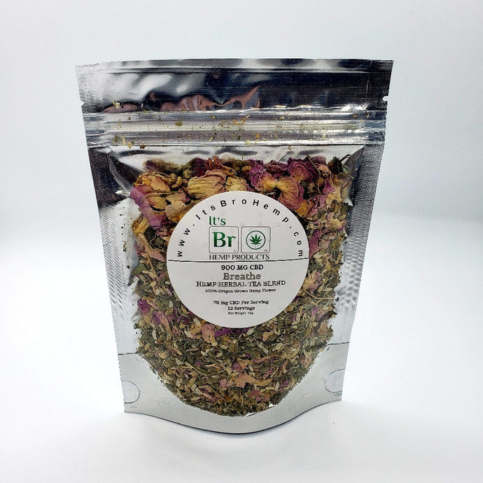 Breathe Hemp Tea Blend In Silver Mylar Bag
