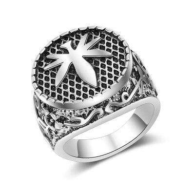 Hemp Leaf Image Ring Stainless Steel