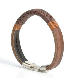 Brown hemp wrapped leather bracelet