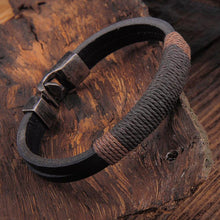 Load image into Gallery viewer, Wood background leather bracelet hemp wrapped