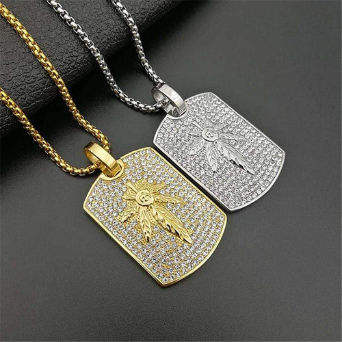 Iced Out Hemp Leaf Pendant and Necklace