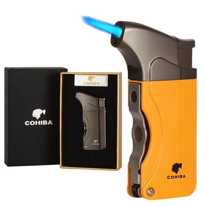 Windproof Lighter Refillable Single Torch Jet Flame - Cohiba