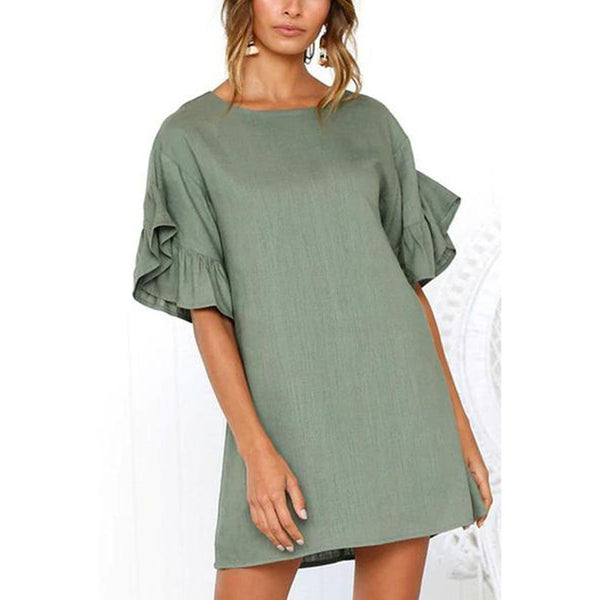Round Neck  Plain  Bell Sleeve  Casual Dresses