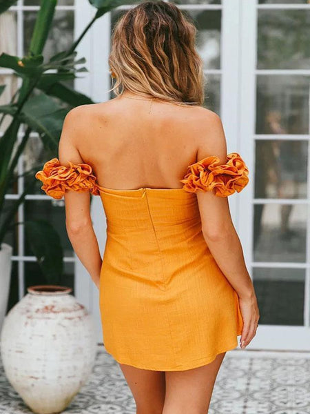 Sexy Off Shoulder Yellow Short Sleeves Mini Dress