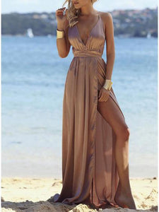 Deep V Neck  Asymmetric Hem Cross Straps  Belt Loops  Plain  Sleeveless Maxi Dresses