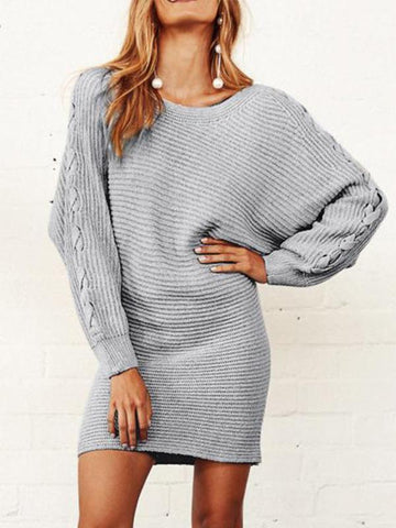Fashion Loose Plain Round Neck Long Sleeve Sweater Shift Dress