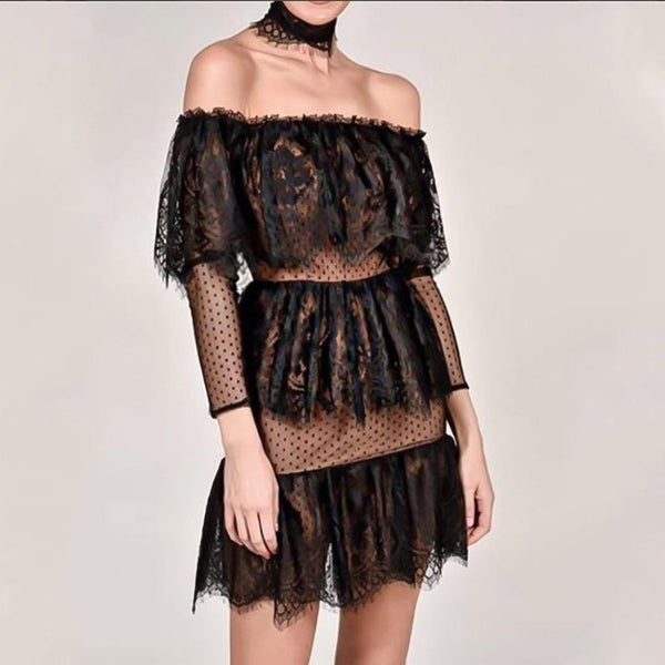 Sexy Lace Fabala Off Shoulder Short Sleeve Shift Dress