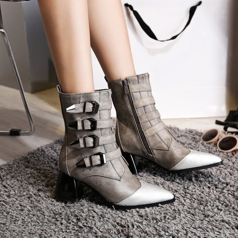 Middle tube thick high heel pointed belt buckle women's boots