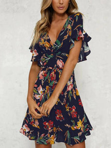 Sexy Short Sleeves Floral Print Mini Dress