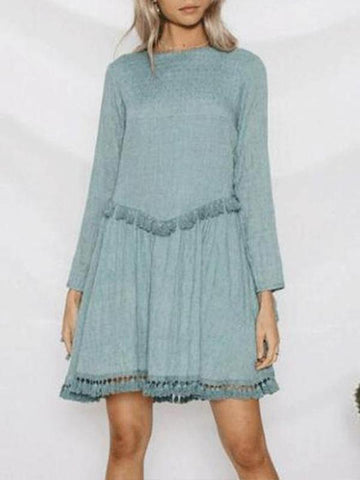 Fashion Round Collar Defined Waist Fringe Shift Dress