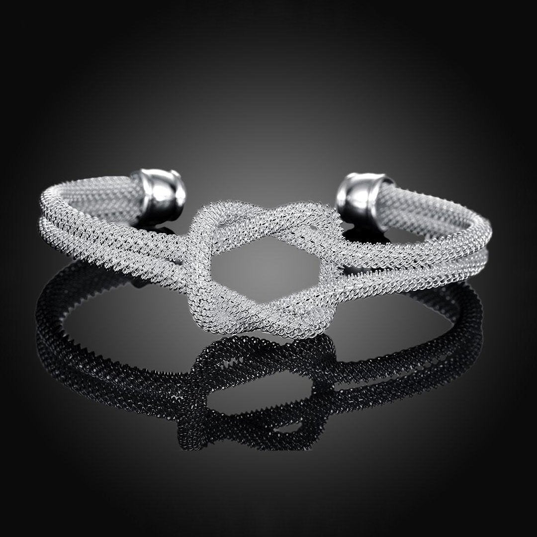 Silver Plated Open Knotted Net Bracelet