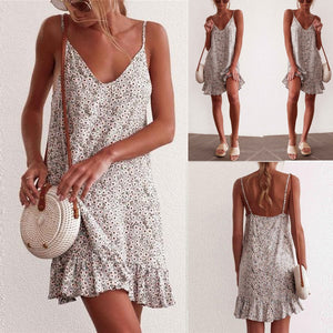 Casual V Collar Loose Floral Printed Vacation Dress