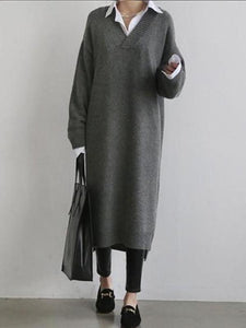 Fashion Simple Loose Long Sleeves Knitted Sweater Dress