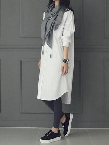 Fashion Casual Pure   Color Long Shirts
