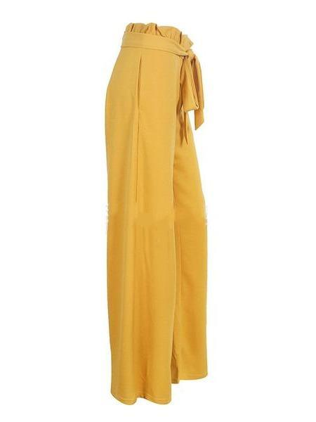 Solid Color Long Flower Ties With Wide Leg Pants