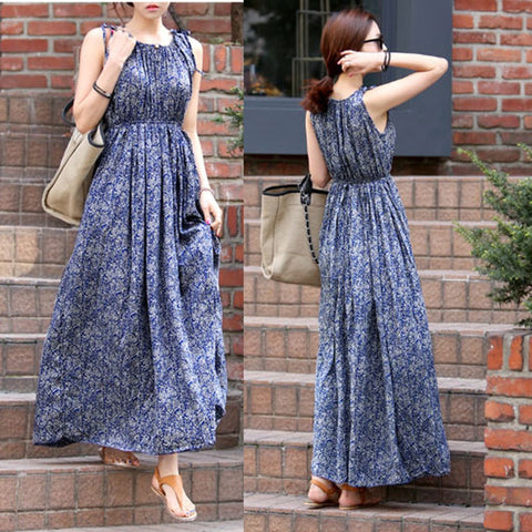 Bohemian Floral Printed Round Collar Sleeveless Long Maxi Dress
