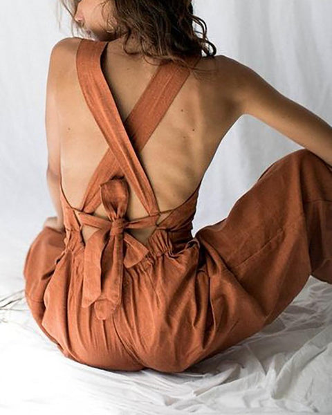 Open Back Cross Strap Bow And Cotton Jumpsuit