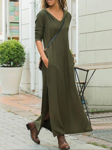 Casual Pure Color V Neck Long And Thin Hooded Maxi Dress