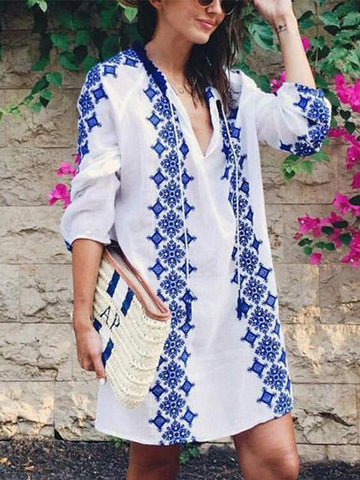 Loose V Neck Bohemian Printed Casual Dress