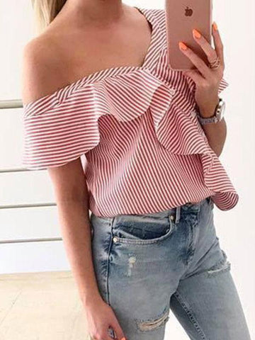 Patchwork Plain T-Shirts Blouses