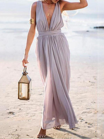 Bohemia Fashion V Neck Sleeveless Maxi Dress