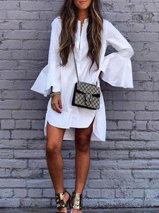 White Flared Sleeve Loose Shift Dress