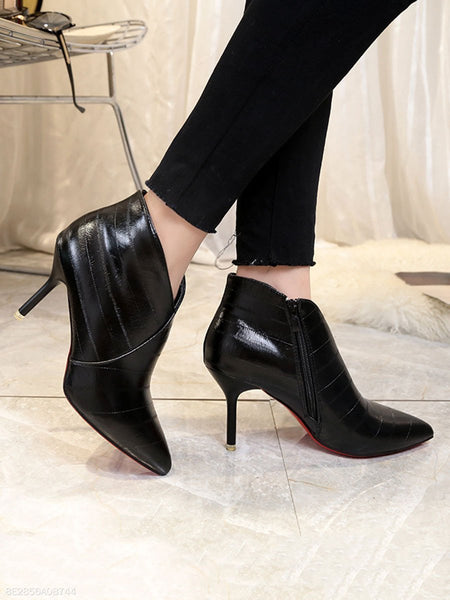 Plain  Stiletto  High Heeled  Faux Leather  Date Boots