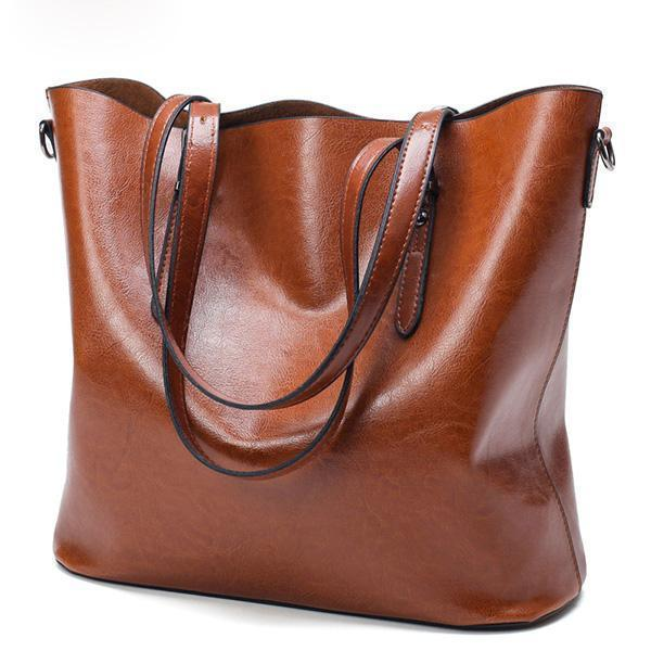 Fashion Women Handbag PU Oil Wax Leather Women Bag Large Capacity Tote Bag Big Ladies Shoulder Bags