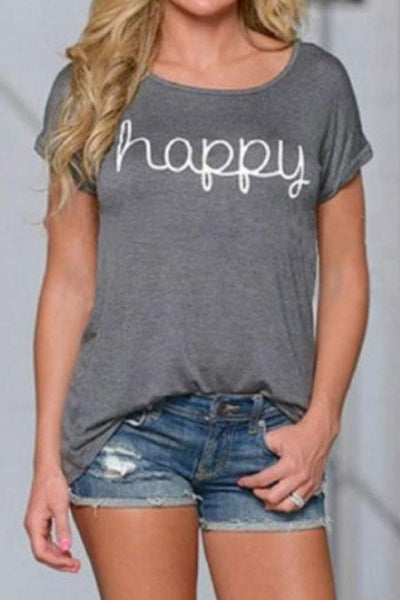 Round Neck  Letters Plain T-Shirts