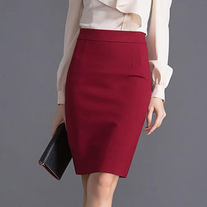 Solid-Color Pencil Midi Skirt