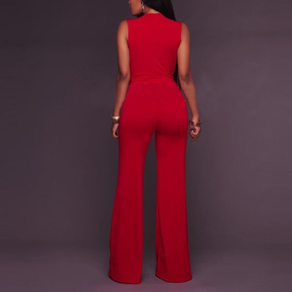 Deep V Sleeveless Jumpsuit