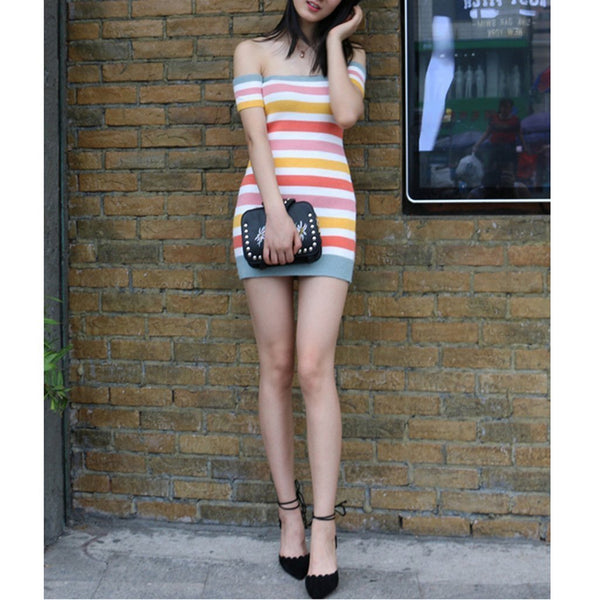 Sexy Off Shoulder Striped Knit Sweater Bodycon Dress