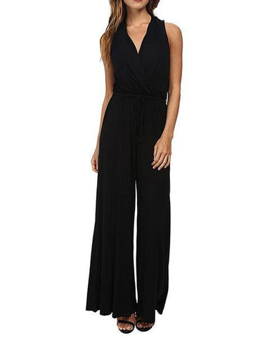 Women's New Sleeveless Deep V High Waist Connected Wide Leg Pants