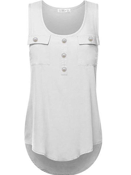 Asymmetric Hem  Patchwork Plain Sleeveless T-Shirts