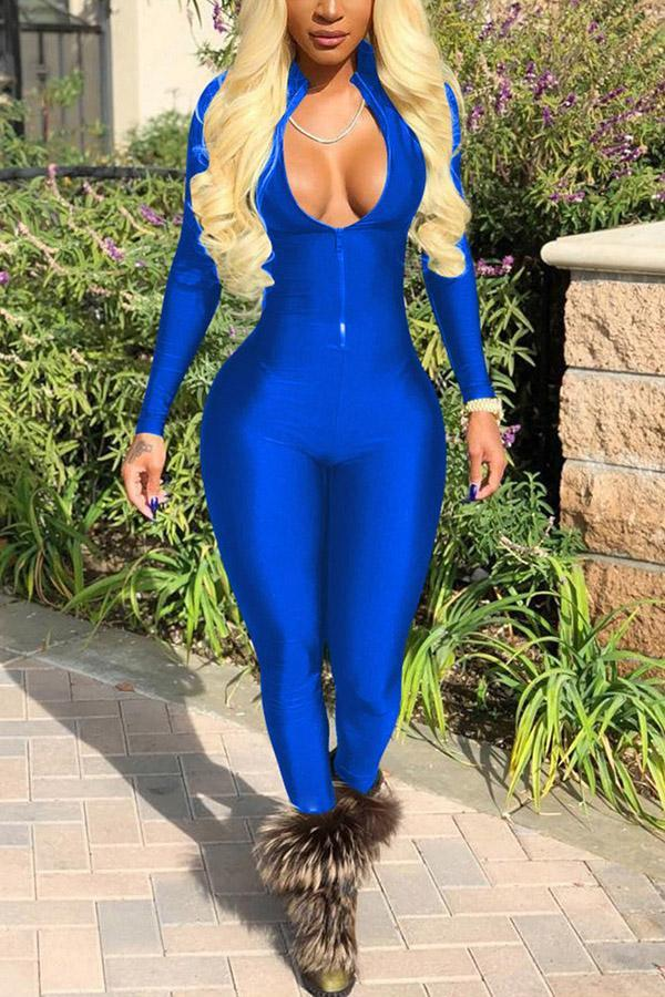 Sexy Fashion Long Sleeves Zipper Jumpsuit