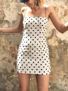 Spaghetti Strap  Polka Dot Shift Dresses
