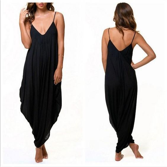Low-Cut V Collar Beach Casual Loose Jumpsuit