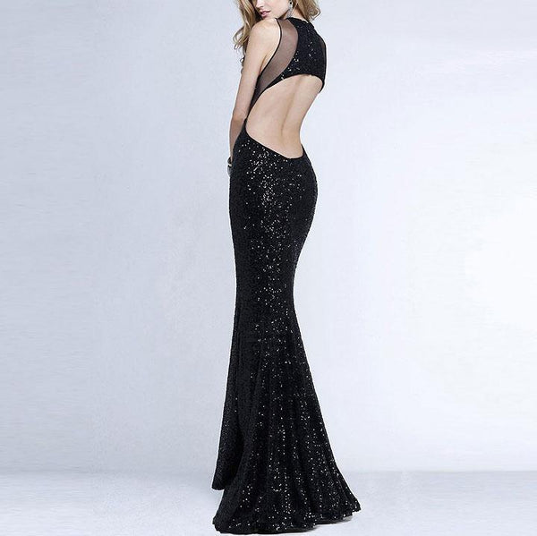 Sexy Split Joint Backless Sequins Grenadine Maxi Dress