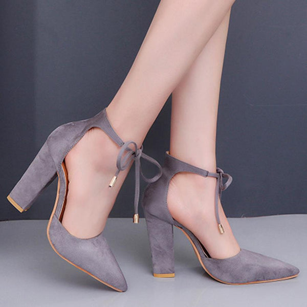 Plain  Chunky  High Heeled  Velvet  Ankle Strap  Point Toe  Date Event Pumps