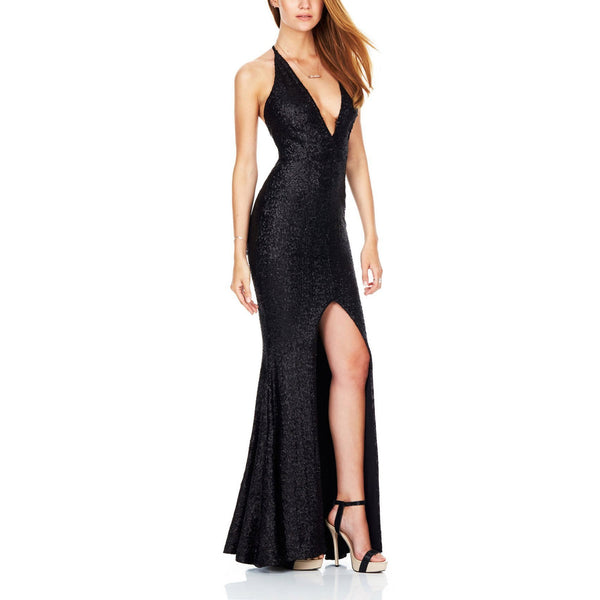 Sexy Sling Deep V Collar Slit Backless  Sequins Maxi Dress