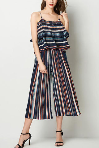 Sexy Fashion Stripe Two-Piece Wide Leg Pants