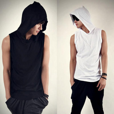Sleeveless T Shirt With Hoodie
