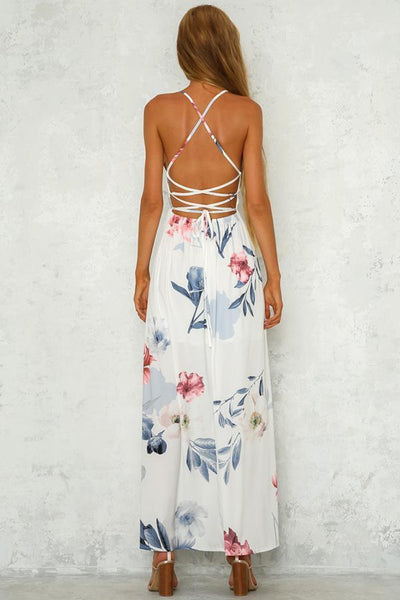 Elegant Sexy Floral Print Vacation Maxi Dress