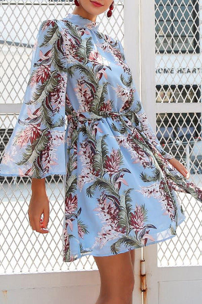 Band Collar  Floral Printed  Long Sleeve Skater Dresses