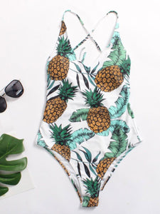 Pineapple Pattern Brocade One Piece For Women
