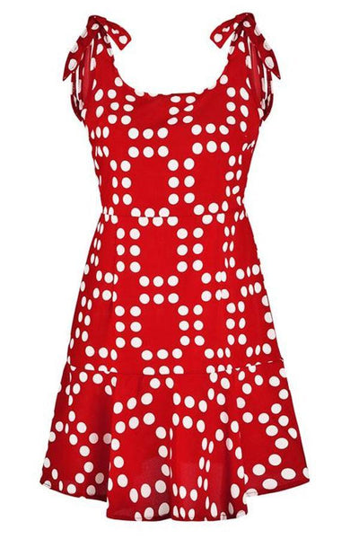 Spaghetti Strap  Backless  Polka Dot  Sleeveless Skater Dresses