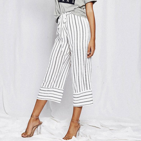 Straight Casual Loose Vertical Stripes Wide Leg Pants